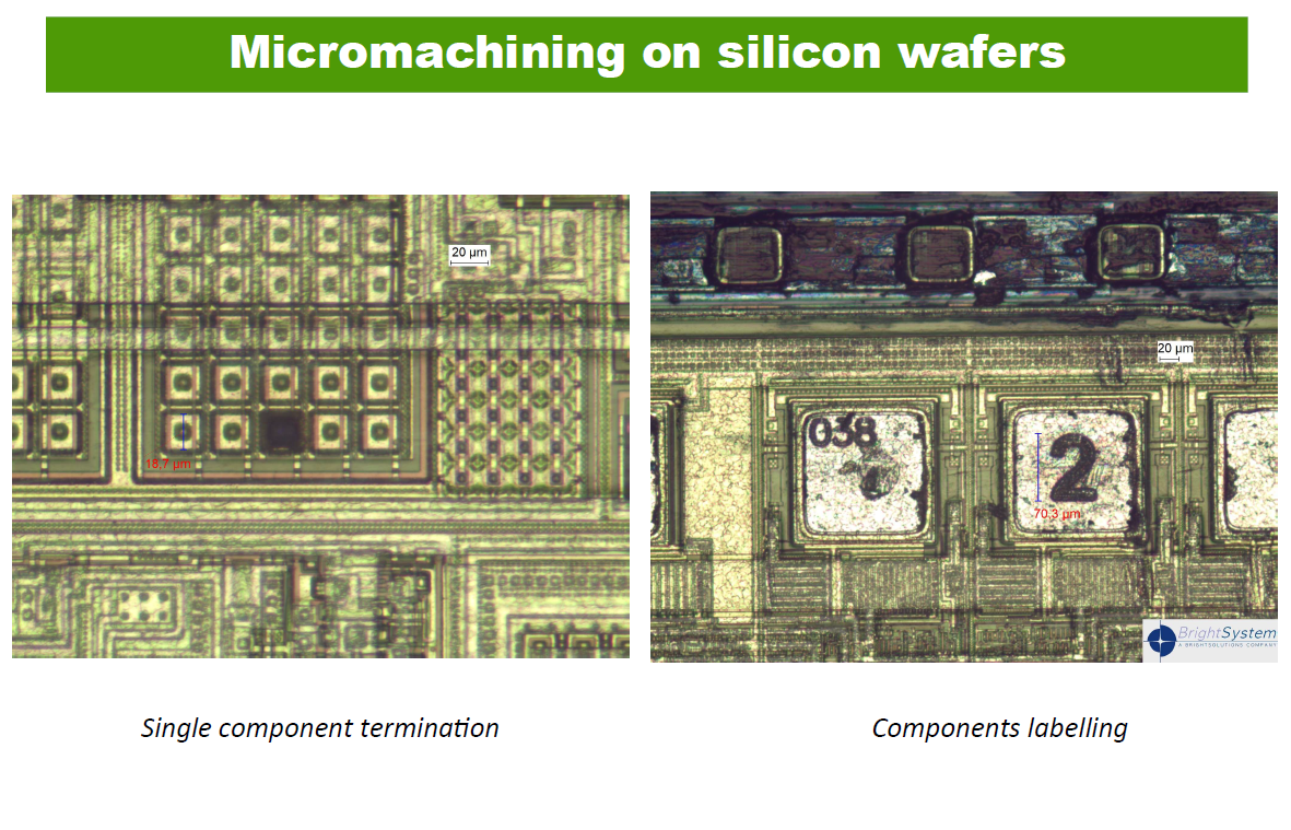 Micromachining on silicon wafers.