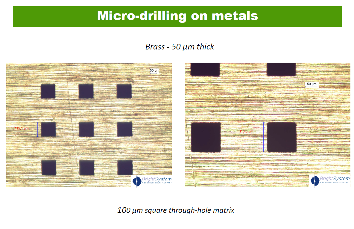 Micro-drilling on metals.