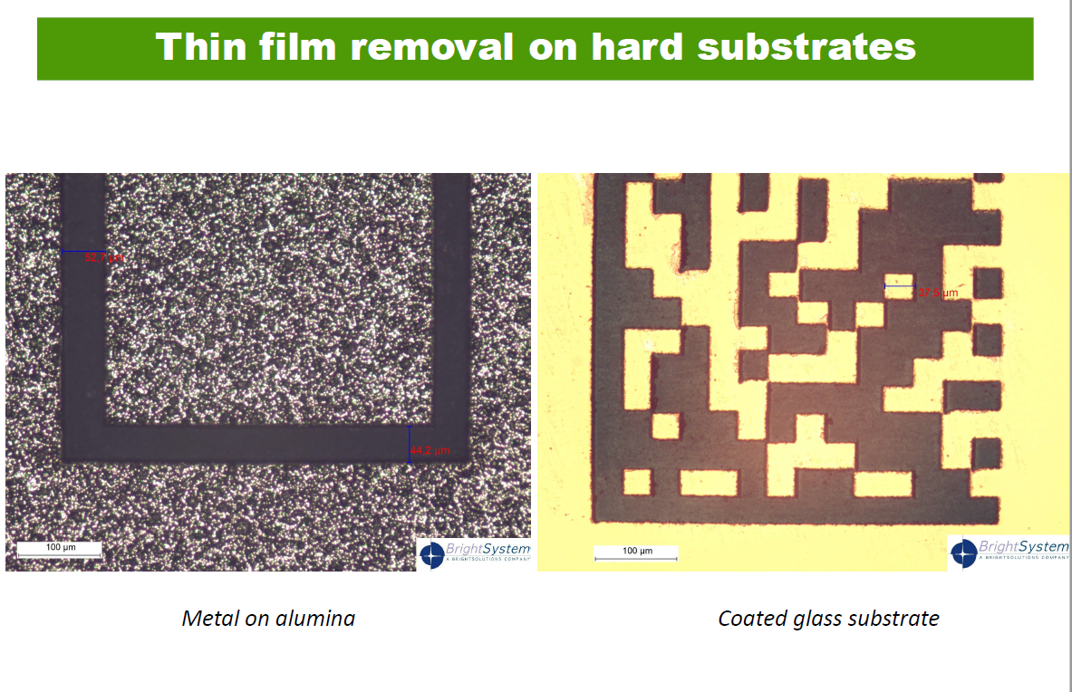 Thin film removal on hard substrates