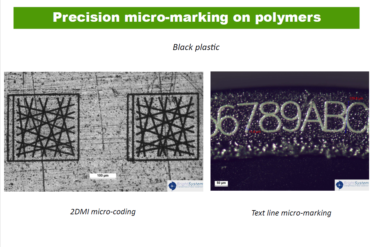 Precision micro-marking on polymers